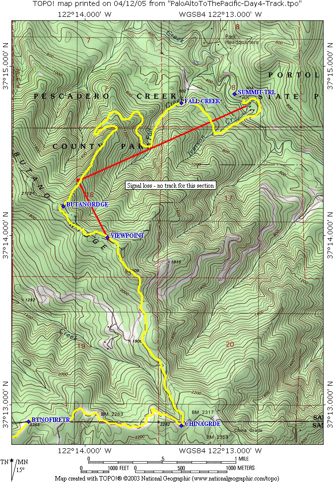 Palo Alto to the Pacific - Day 4 - Portola Redwoods State Park to ...